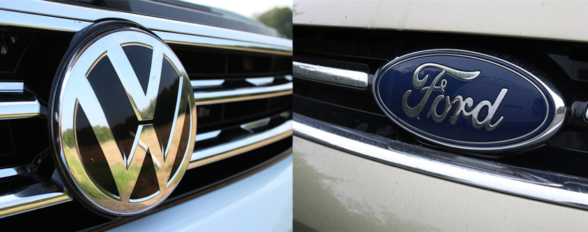 VW and Ford badges